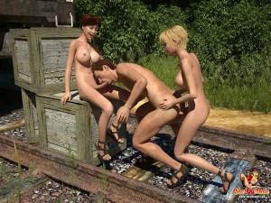 3d futanari threesome porn toon